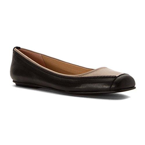 Franse Enige Dames Twiggy Flats Schoenen Zwart / Taupe Zacht Kalf