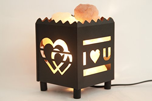 DIA Natural Himalayan Salt Lamp in Love Design Metal Basket with Dimmable Cord For Christmas And Halloween gifts