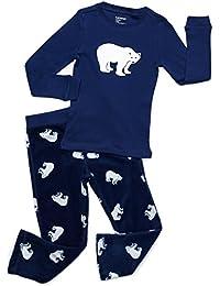 Boys 2 Piece Pajama Set Cotton Top & Fleece Pants PJ's (2 Toddler-14 Years)