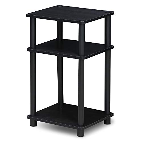 FURINNO Just 3-Tier End Table, 1-Pack, Americano/Black (End Glass Table Cube)