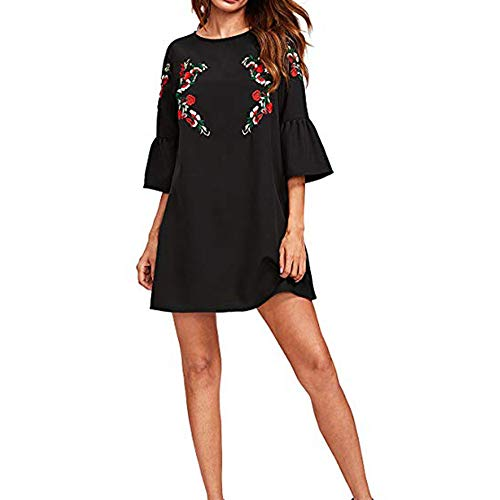 Morecome,Women's 4/5 Bell Sleeve Mini Embroidered Tunic Dress for $<!--$8.06-->