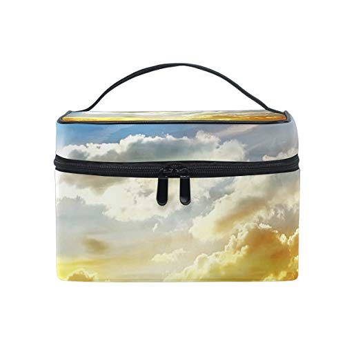 (Makeup Cosmetic Bag Road Across Steppe Sunset Clouds Landscape Portable Storage with Zipper)