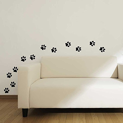 Vinyl Sticker Cat Paw Print Wall Decals for Home Decor, Pet Shop, School Classroom, Office, Animal Lovers