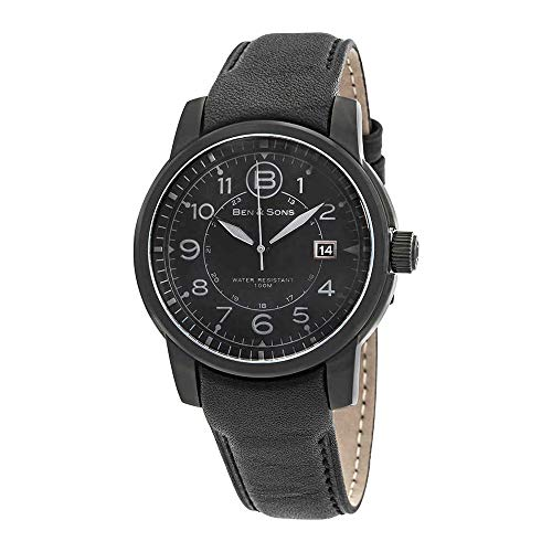 Ben & Sons Men's 'West Side' Quartz Stainless Steel and Black Leather Casual Watch (Model: BS-10006-BB-01-GA) (Ben And Sons Mens Watch)