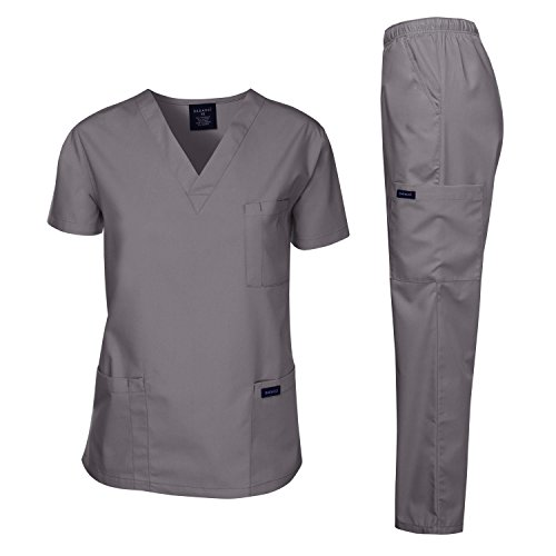 Dagacci Scrubs Medical Uniform Men Scrubs Set Medical Scrubs Top and Pants (Large, Petwer Gray)