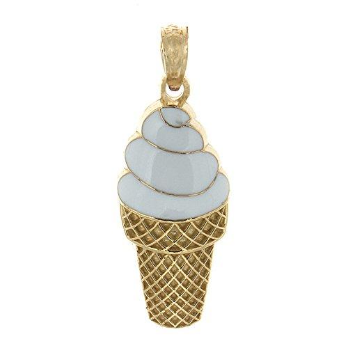 2d Pendant (14k Yellow Gold Food Charm Pendant, Small 2D White Enamel Vanilla Ice Cream Cone)