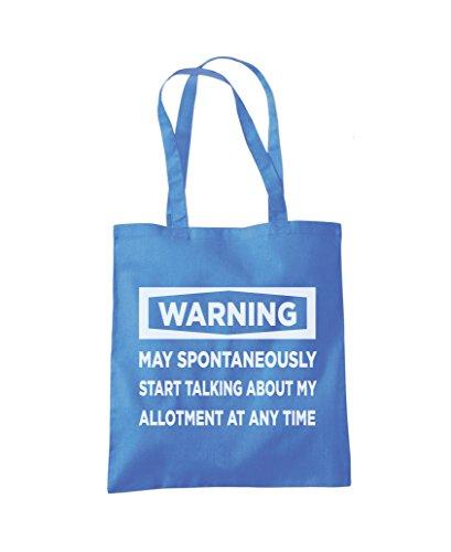 Warning - May Start Talking About My Allotment - Tote Shopper Fashion Bag Cornflower Blue