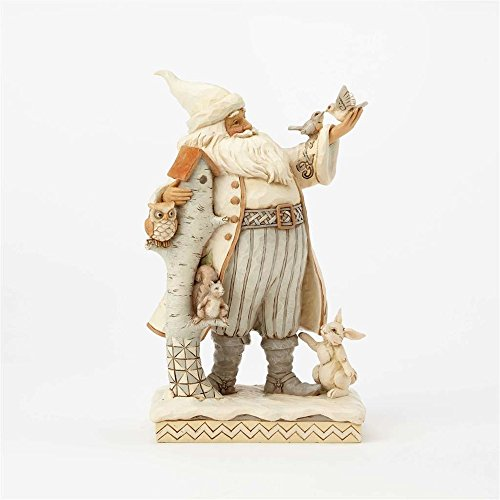 Enesco Jim Shore Heartwood Creek White Woodland Santa with Birch House Figurine, 10.5