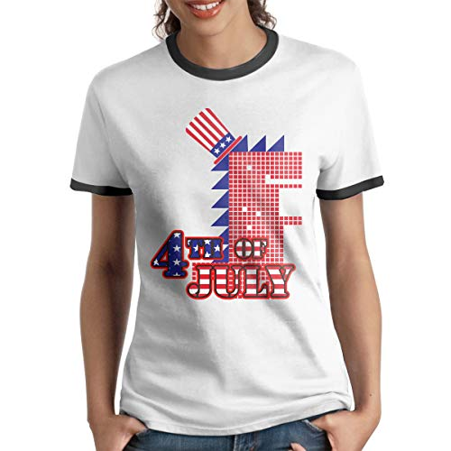 HAIGUANGZ Custom Rawr Dinosaur Sunglass 4th of July Ringer T-Shirt Short Sleeve for Girls Black ()