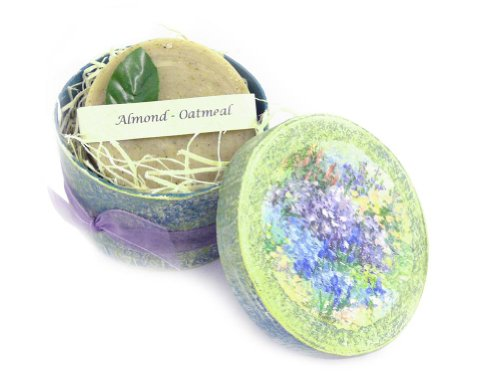 Almond and Oatmeal Natural Goat Milk Soap Bar with Handmade Keepsake (Flower Box Keepsake Set)