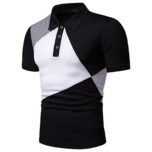 Fuumiol Mens Fashionable Men's Three-Color Stitching Casual High-Grade Lapel Shirt with Short Sleeves Black