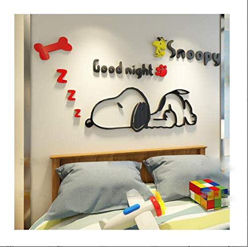 CQMYG. Cartoon Animal Wall Stickers 3D Solid Wall Stickers Self-Adhesive. Environmental Protection. Can be Removed. Acrylic. Give The Child a Gift. Left Version - Black red 1.8x0.8m]()