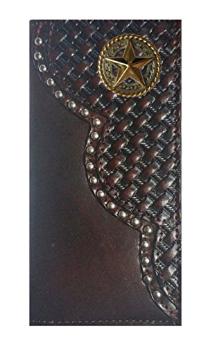 Leather Gold Checkbook THE Fancy Wallet Weave Star Black USA Proudly Cherry Custom Basket MADE IN Long pw8qHn