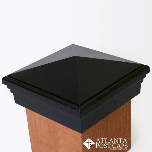 6x6 Post Cap - (True 6') Black Pyramid Top - With 10 Year Warranty