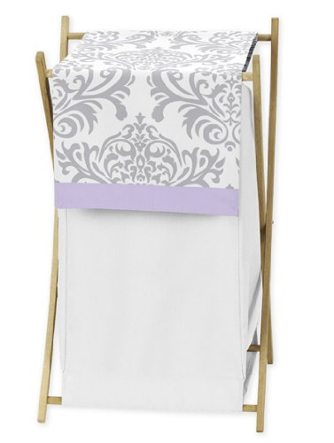 Sweet Jojo Designs Baby/Kids Clothes Laundry Hamper for Lavender, Gray White Damask Print Elizabeth Bedding Collection by Sweet Jojo Designs