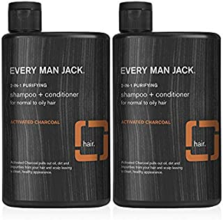 product image for Every Man Jack 2-in-1 Daily Shampoo + Conditioner - Purifying Activated Charcoal | 13.5-ounce Twin Pack - 2 Bottles Included | Naturally Derived, Parabens-free, Pthalate-free, Dye-free, and Certified Cruelty Free