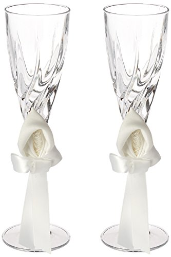 - Ivy Lane Design Calla Lily Wedding Collection, Crystal Toasting Flutes, White