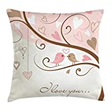 Ambesonne Love Throw Pillow Cushion Cover, Birds on Branch Abstract Valentine's Heart Nature Environment Ornate Romance, Decorative Square Accent Pillow Case, 16 X 16 Inches, Blush Brown Beige