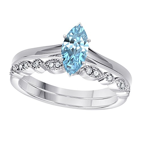 Aquamarine Marquise - DreamJewels 1.00 Ct Marquise Shape & Round Cut Aquamarine & White CZ Diamond 14k White Gold Finish Alloy Art Deco Vintage Design Wedding Engagement Ring Sets Size 4.5-12