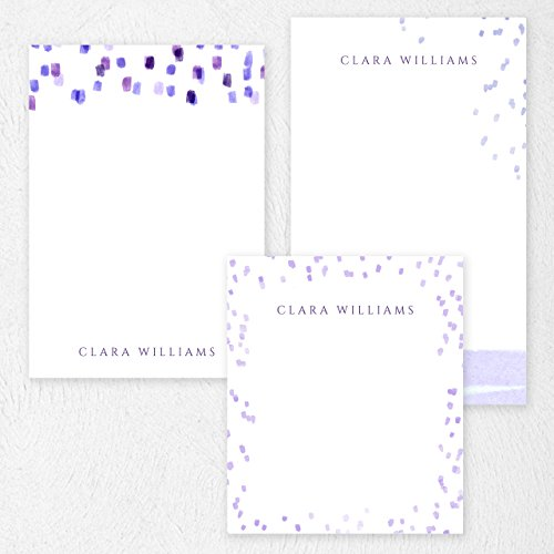 Custom Purple Paint Lines Note Pad Set Personalized Stationery - 50 sheets per note pad - 3 designs and sizes: 4.25x5, 4.25x6, 4.25x7. Made in the USA.