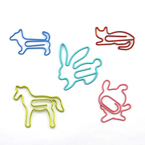 RuiLing 50pcs Multicolor Cute Fun Paper Clips Creative Animal Shape,Great For Paper Clip Collectors Bookmark Document Holder Office School Notepad Sticker Stationery.