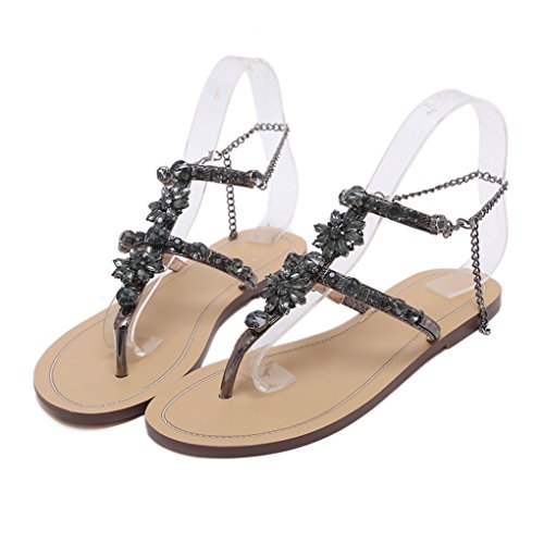 Dovaly Women Sandals Bohemian PU Rhinestones Chains Flat Gladiator T-Strap Flat Sandals