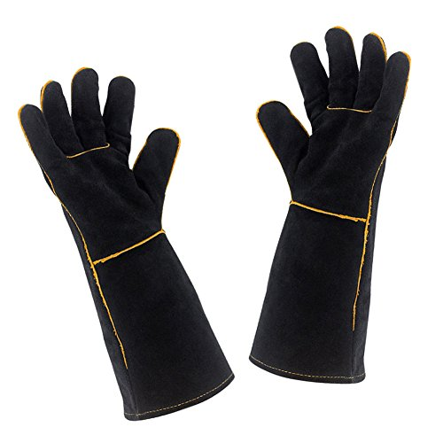 Welding Gloves Extreme Heat Resistant - BBQ Grill Baking Gloves Oven Mitts Cowhide Welder Gloves - Wear Resistant Durable - Perfect for Fireplace, Oven, Welding, Stove, Mig, Gardening