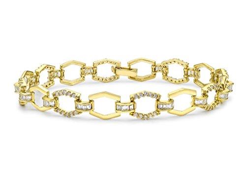 9ct or jaune clair Pierre hexagonale Bracelet à maillons 19cm/7.5'