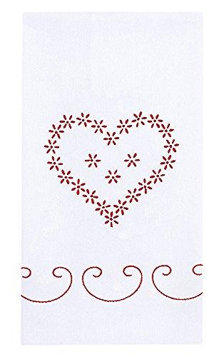 Jack Dempsey weißes Deko-Handtuch-Paar 43x 71cm, Valentinstag