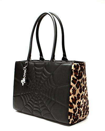 Elvira Lucky Me Tote in Black Matte with Leopard