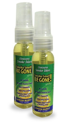 Smoke Smell Be-Gone! Smoke & Odors Eliminator for Home, Office & Car. Natural Non-Aerosol Air Freshener 1.1oz (33ml), Lemon Scent (Pack of 2)