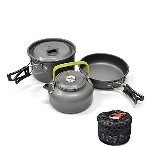 Yilan Trade Camping Compact Aluminum Pot Frying Pan Kettle Set Tea Pot Outdoor Travel Cookware Cooking Utensils with Mesh Storage Bag