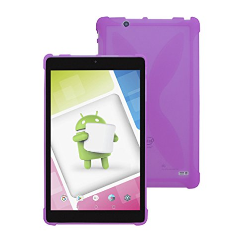 Nextbook Ares 8A TPU Case - iShoppingdeals Ultra–Slim TPU Rubber Gel Cover with Textured, Non-Slip Grip for Nextbook Ares 8A (NX16A8116S) Android Tablet 2017 Release (Purple)