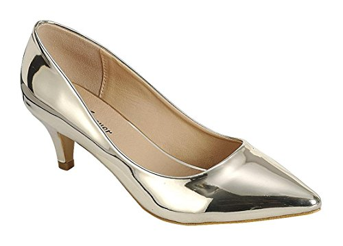 Coshare Women's Fashion Patent Embellished Front Low Heel Pumps Gold 6.5