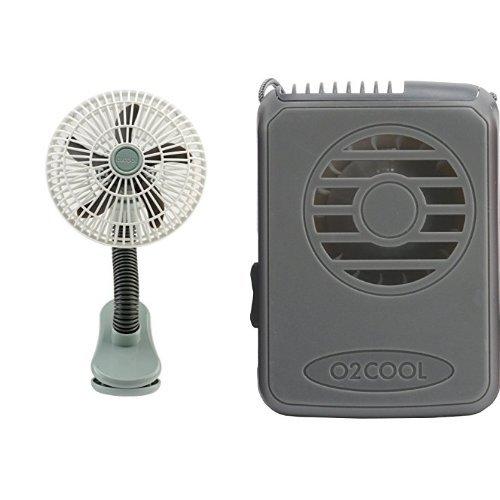 O2COOL 4-Inch Portable Stroller Clip Fan & Deluxe Necklace Fan, Grey