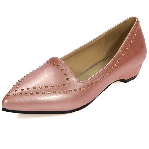 VogueZone009 Women's Pull-On PU Pointed Closed Toe Low-Heels Solid Pumps-Shoes Pink vAfvNn5ym4