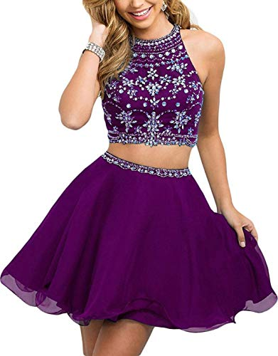 (WanFuBridal Women's Halter Beading Homecoming Dresses Two Piece Pleated Cocktail Prom Gowns Short Grape)