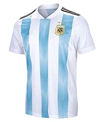 promo code df5dc b8a70 Stylexa Men's Polyester White/Blue Half Sleeve Messi Argentina Football  World Cup Jersey-2018