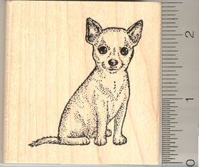 Chihuahua Dog Sitting Rubber Stamp