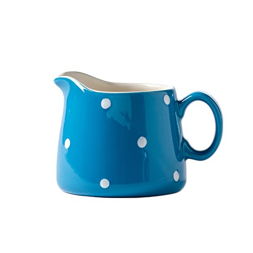 CHOOLD Polka Dot Ceramic Creamer with Handle,Coffee Milk Creamer Pitcher /Serving Pitcher/Sauce Pitcher/ Milk Creamer Jug for Kitchen 8.5oz ()