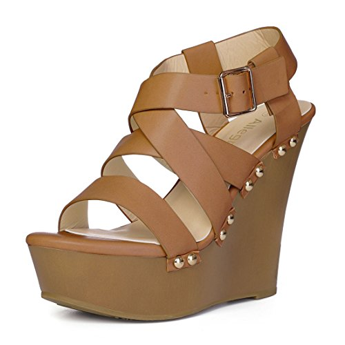 Allegra K Women's Strappy Wedge Brown Sandals - 6 M ()