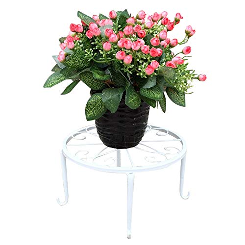 9 inch Metal Potted Plant Stand Rust-Proof Wrought Iron Flower Pot Holder Iron Short Flower Pot Bracket Tripod Floor Dish Decorative Flower Pot Pot Holder (White)