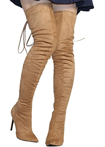Boots High Thigh Back Lace Women's The Knee Stiletto Up Toe Heel CAMSSOO Velveteen Pointy Over Fashion Khaki Tie xw8qUIazH