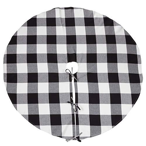 Fennco Styles Buffalo Check Plaid Design 100% Pure Cotton Round Tree Skirt - Black 53 Inch Christmas Tree Skirt for Christmas Party Decorations, Vintage Christmas Decorations