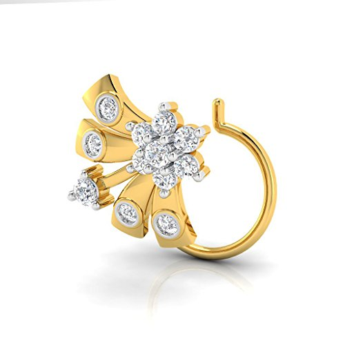 Deal of the Day Pristine Fire 18KT Floral Yellow Gold and Diamond Nose Pin for Women (Special Gift)