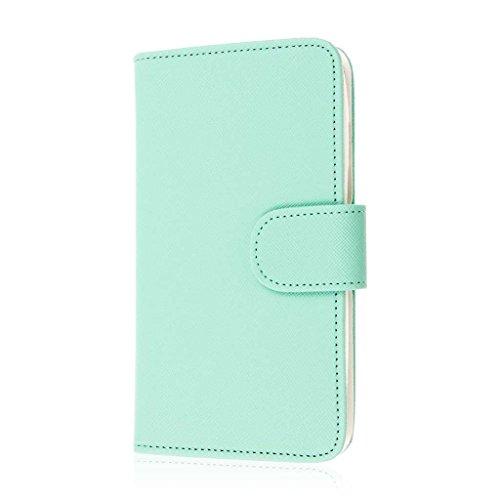 Ballistic Nylon Leather Folio - EMPIRE MPERO Motorola Droid Turbo Wallet Case, [Flex Flip] Cover Card Slots Wrist Strap (Mint Green)