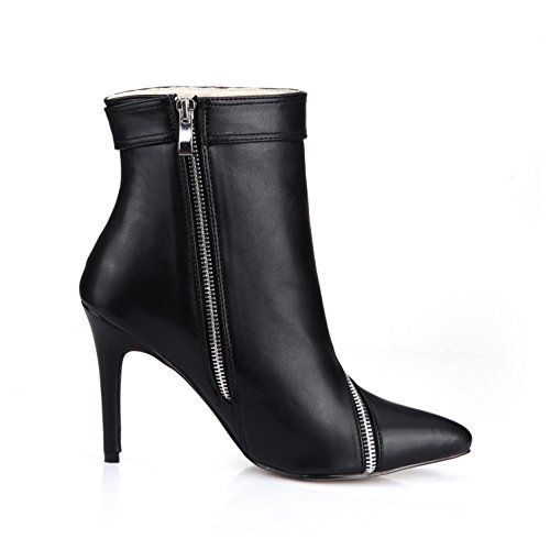Women's toe Sole Zipper Rubber Premium Shoes High Pumps Best Spring 7CM Autumn Buckle Pointed 9 One Heels Black PU 4U 5w6Tq81