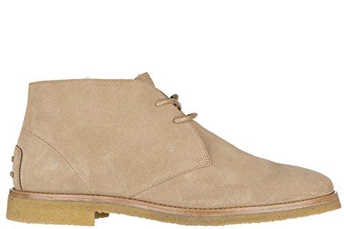 Tod's polacchine stivaletti scarpe uomo camoscio beige