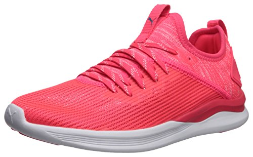PUMA Women's Ignite Flash Evoknit Stripped Wn Sneaker, Bright Plasma White, 10 M - Sneakers Bright