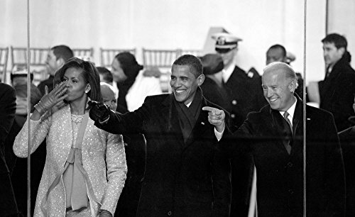 Photo Metal Photography Poster - 2009 Inaugural Parade. Michelle and Barack Obama join Joe Biden watch the parade from the viewing stand in front of the White House Washington D.C. 15